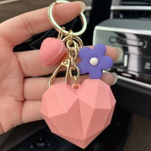 *ACACIA* Pink Heart Fashion Pendant Keychain Ring